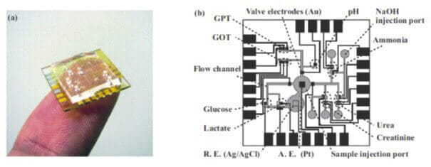 Microfluidic and electrochemistry - Microfluidic lab-on-a-chip allowing electrochemical glucose detection