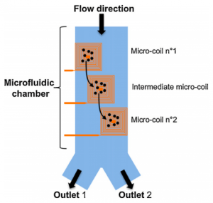 Electromagnets for microfluidic particle sorting