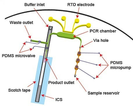 Microfluidic PCR & qPCR_RT-PCR chip with immunochromatographic-lateral flow assay detection