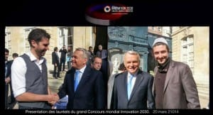 Adrien plecis and guilhem velve casquillas meet jean-marc ayrault for the Worldwide 2030 Innovation contest