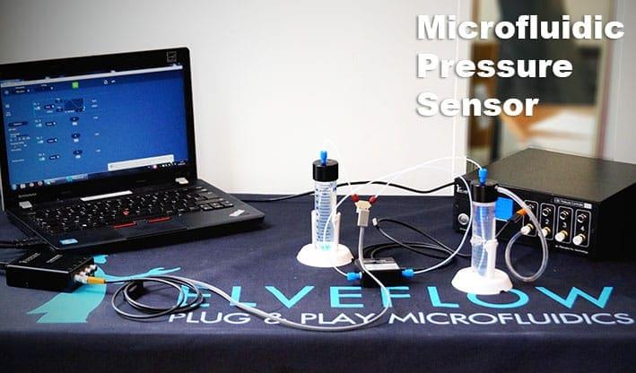 Microfluidic setup-flow-sensor-pressure-sensor