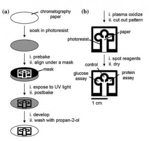 Fabrication of paper-based microfluidic device using photolithography technique (described by Martinez et al. 2007)