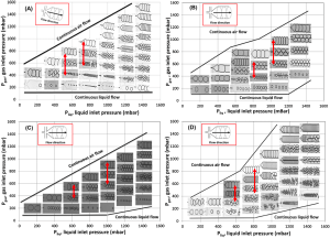 Fig 2. Microfluidics investigation of foam hysteresis: Foam regime maps plotting the gas inlet pressure (Pgas) versus the liquid inlet pressure (Pliq) for the following solutions: a 5 cmc SDS (reference system), b 5 cmc SDS+20% (wt.) glycerol, c 5 cmc SDS+40% (wt.) glycerol, and d 5 cmc SDS+0.15 g L−1 DOH. The red arrows from left to right represent the low (P1) and high (P2) pressure ranges investigated for the formulation